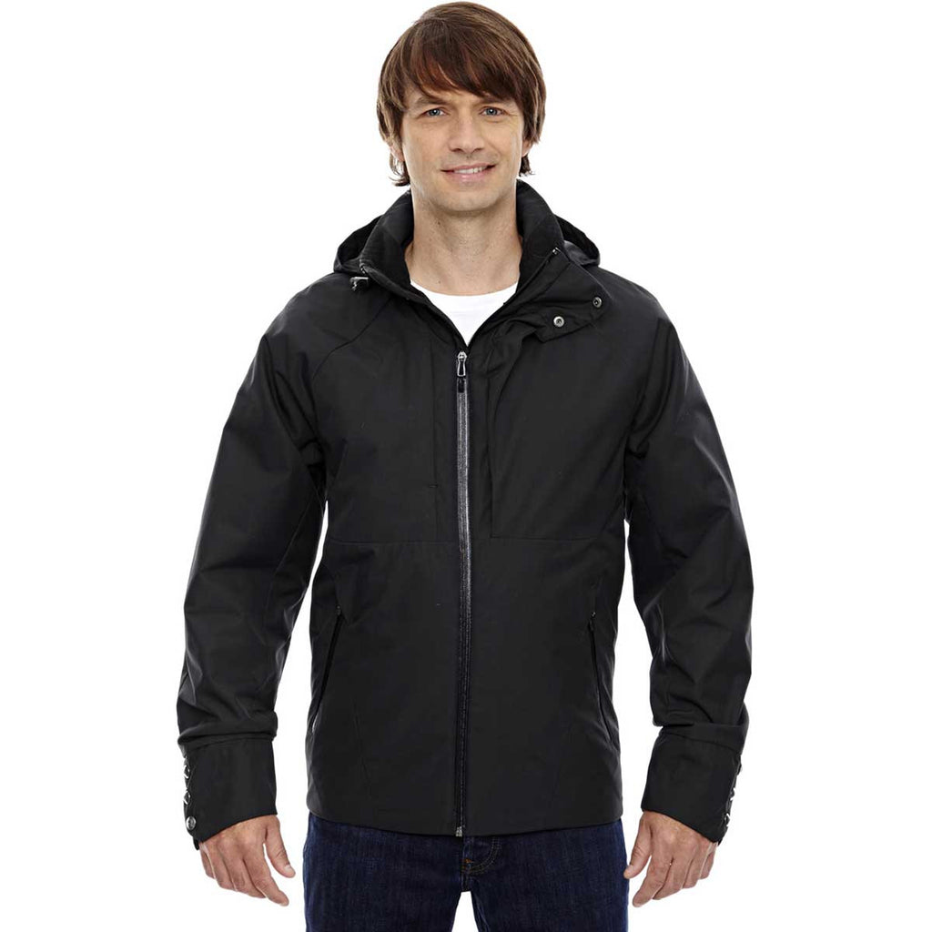 North End Men's Black Skyline City Twill Insulated Jacket with Heat Reflect Technology