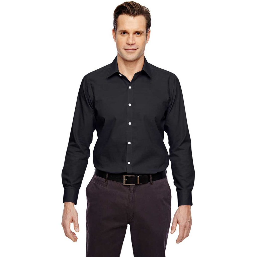 North End Men's Black Two-Ply 80's Cotton Dobby Taped Shirt