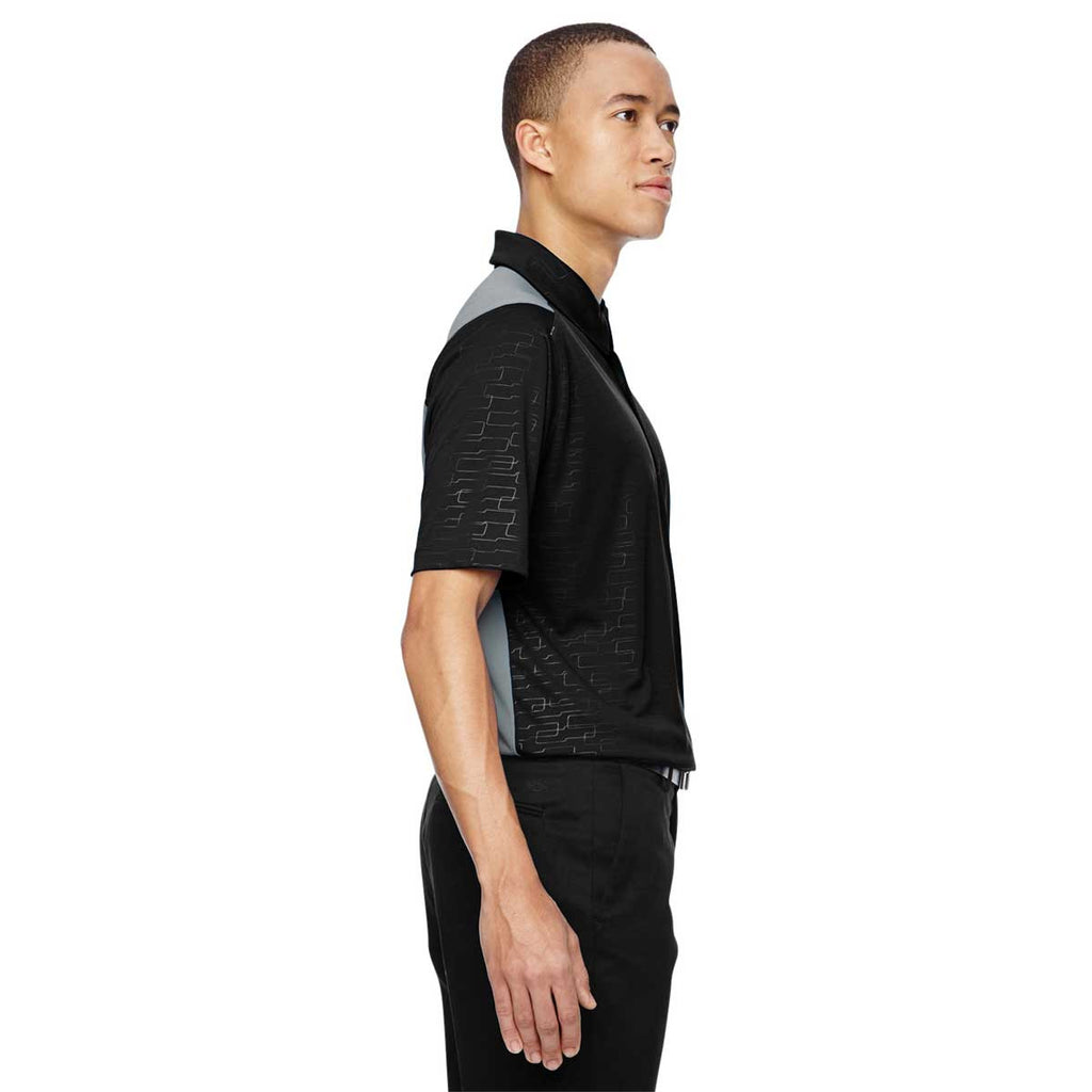 North End Men's Black Performance Embossed Print Polo