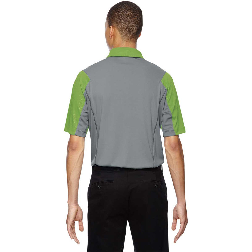 North End Men's Green Flash Performance Embossed Print Polo