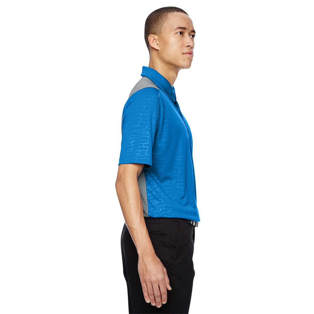 North End Men's Olympic Blue Performance Embossed Print Polo