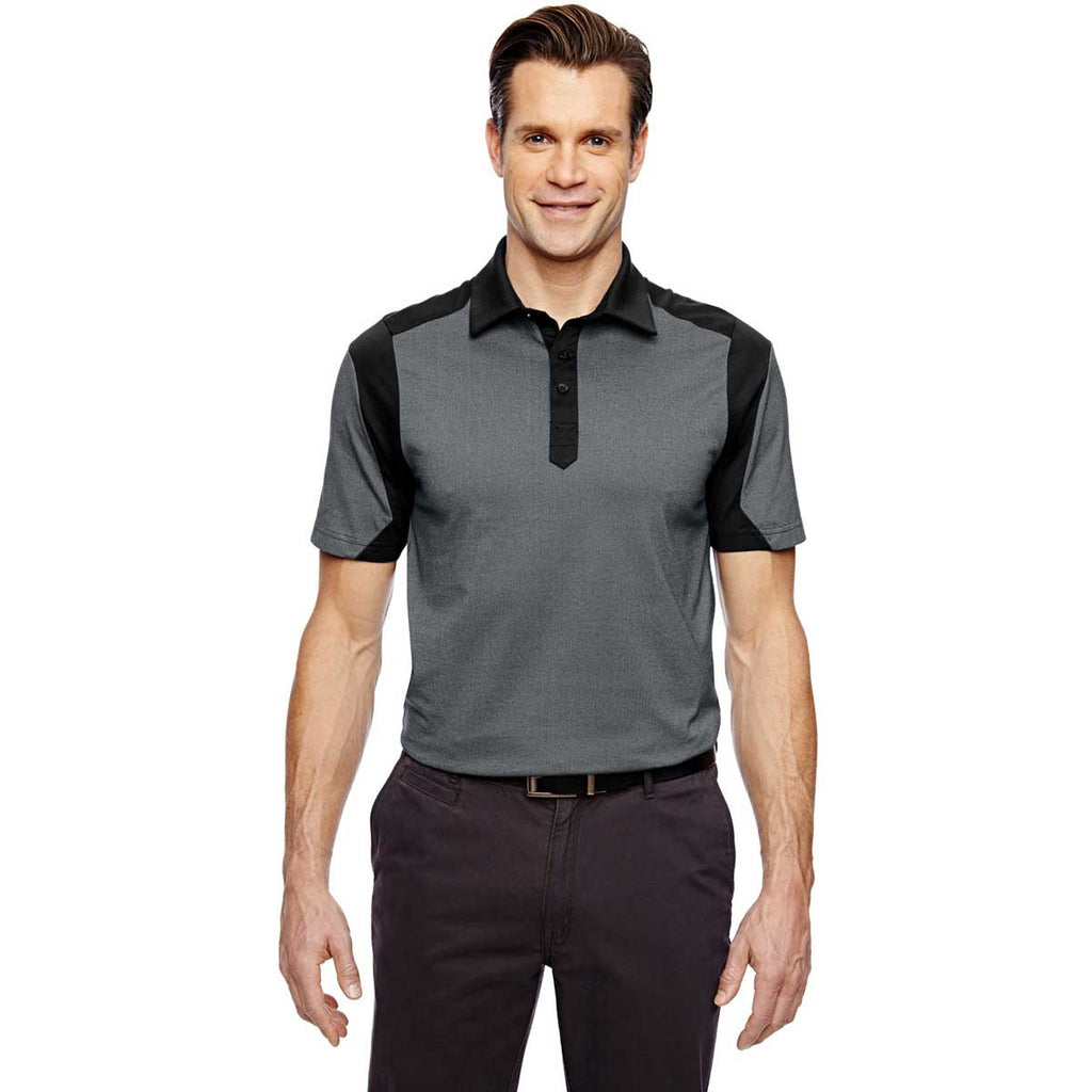 North End Men's Black Merge Cotton Blend Melange Polo