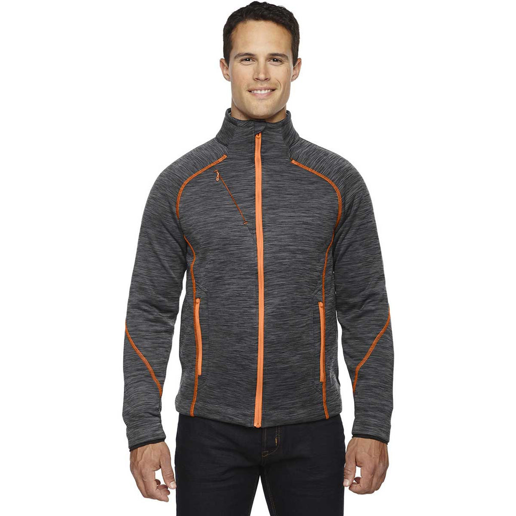 North End Men's Carbon/Orange Soda Flux Melange Bonded Jacket