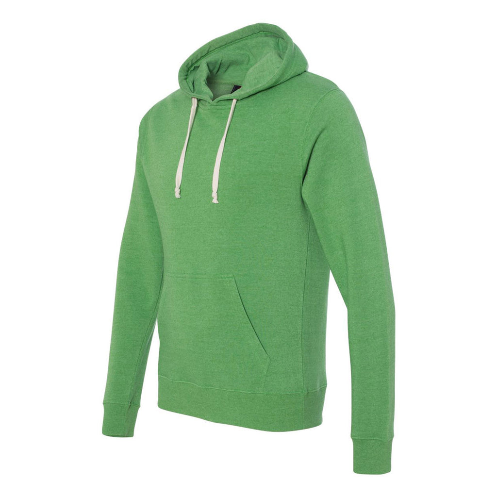 J. America Men's Green Triblend Triblend Hooded Pullover Sweatshirt