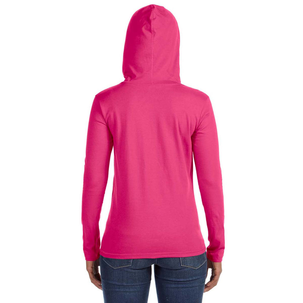 Anvil Women's Heather Pink/Neon Yellow Long-Sleeve Hooded T-Shirt