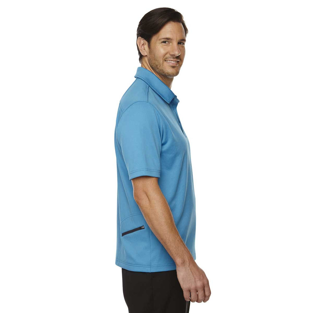 North End Men's Electric blue Performance Polo with Back Pocket