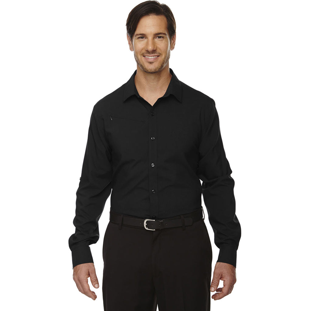 North End Men's Black Rejuvenate Performance Shirt with Roll-Up Sleeves