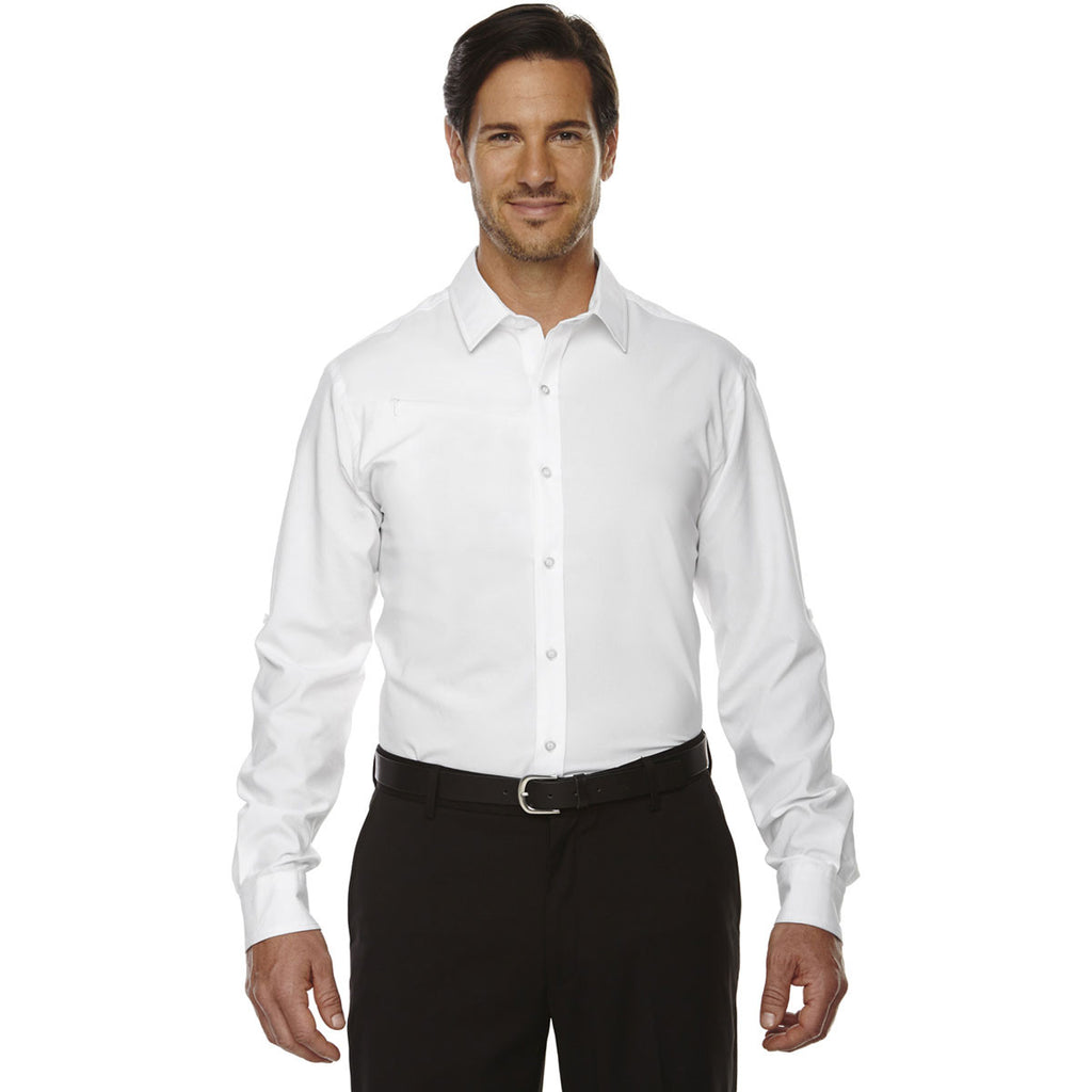 North End Men's White Rejuvenate Performance Shirt with Roll-Up Sleeves