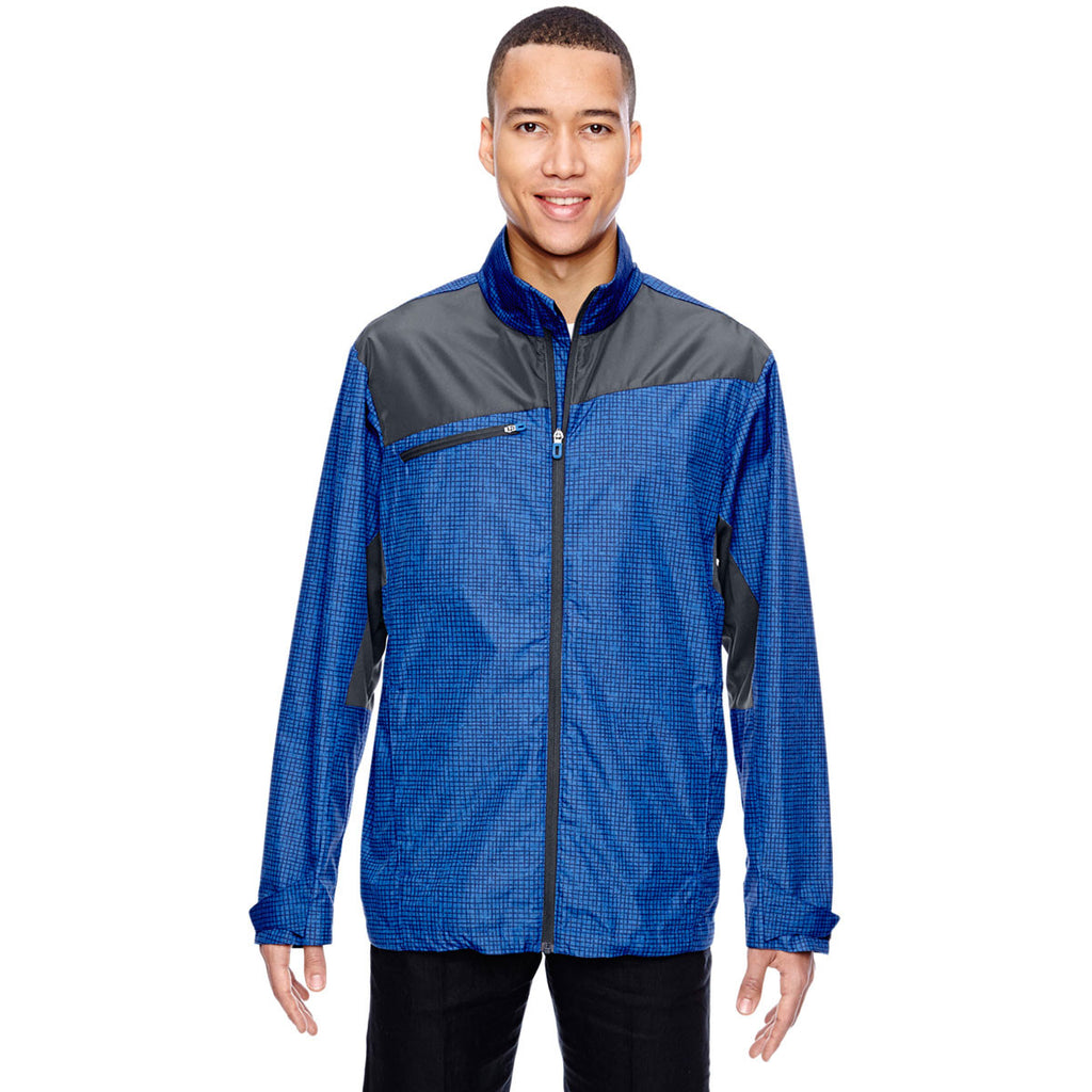 North End Men's Nautical Blue Interactive Sprint Printed Lightweight Jacket
