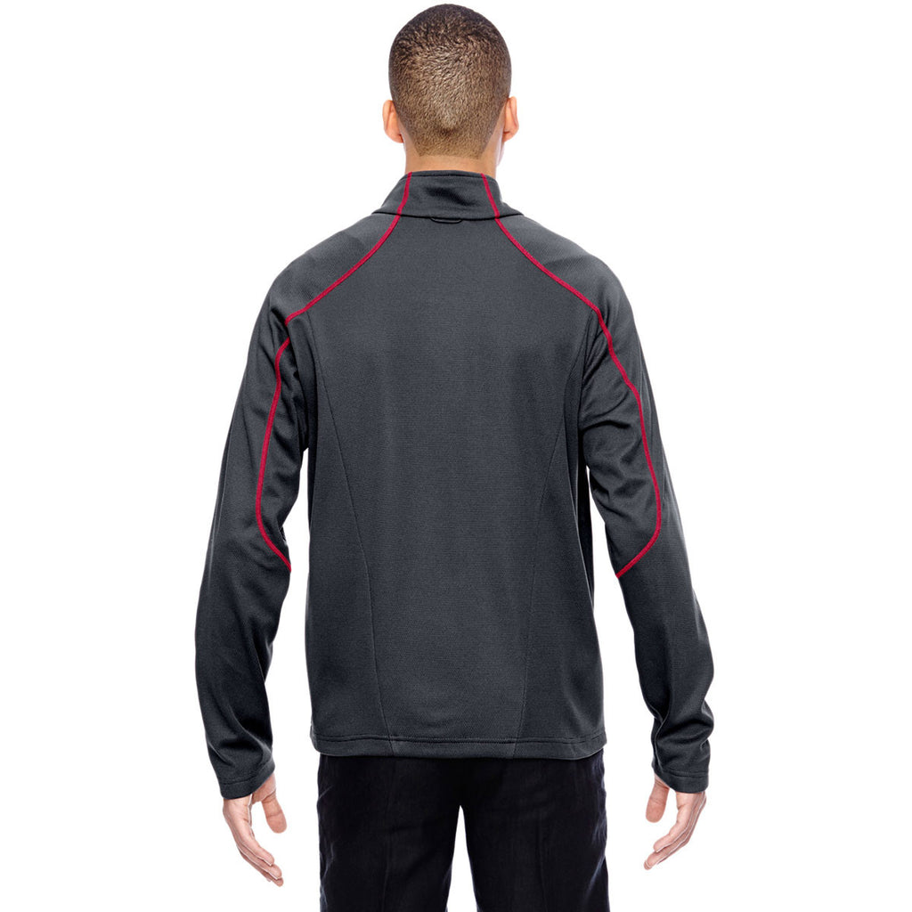 North End Men's Carbon/Olympic Red Two-Tone Brush Back Jacket