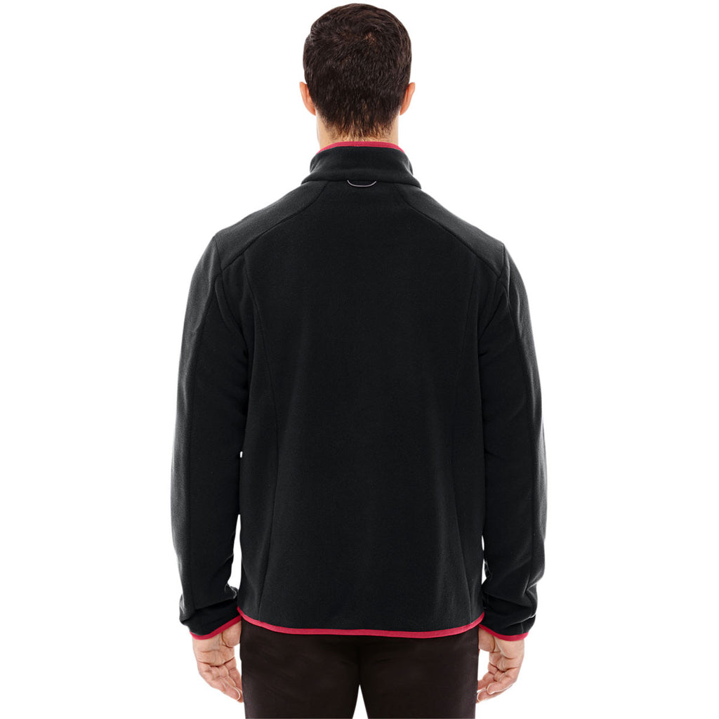 North End Men's Black/Olympic Red Polartec Fleece Jacket