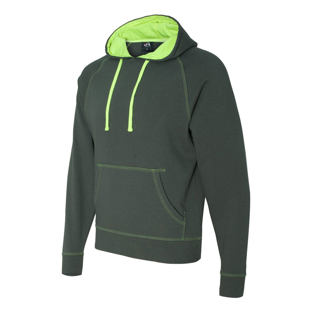 J. America Men's Neon Green Shadow Fleece Hooded Pullover Sweatshirt