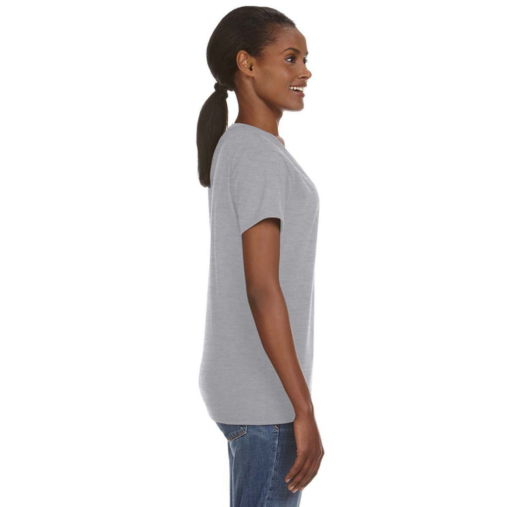 Anvil Women's Heather Grey Lightweight V-Neck T-Shirt