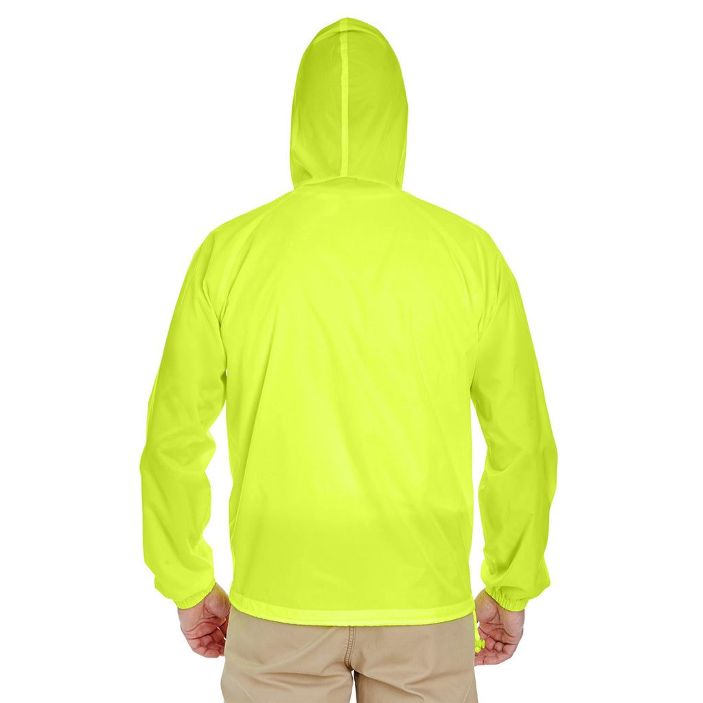 UltraClub Men's Bright Yellow Quarter-Zip Hooded Pullover Pack-Away Jacket