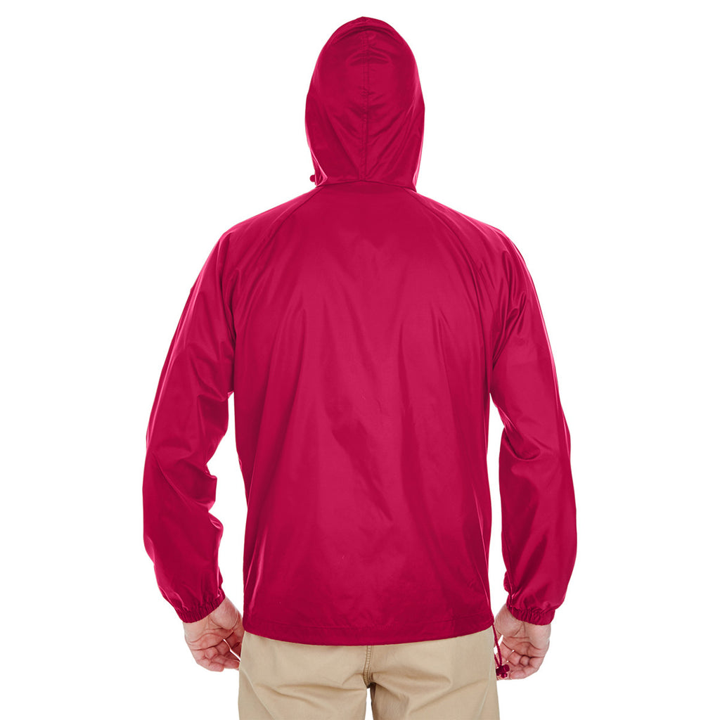 UltraClub Men's Red Quarter-Zip Hooded Pullover Pack-Away Jacket