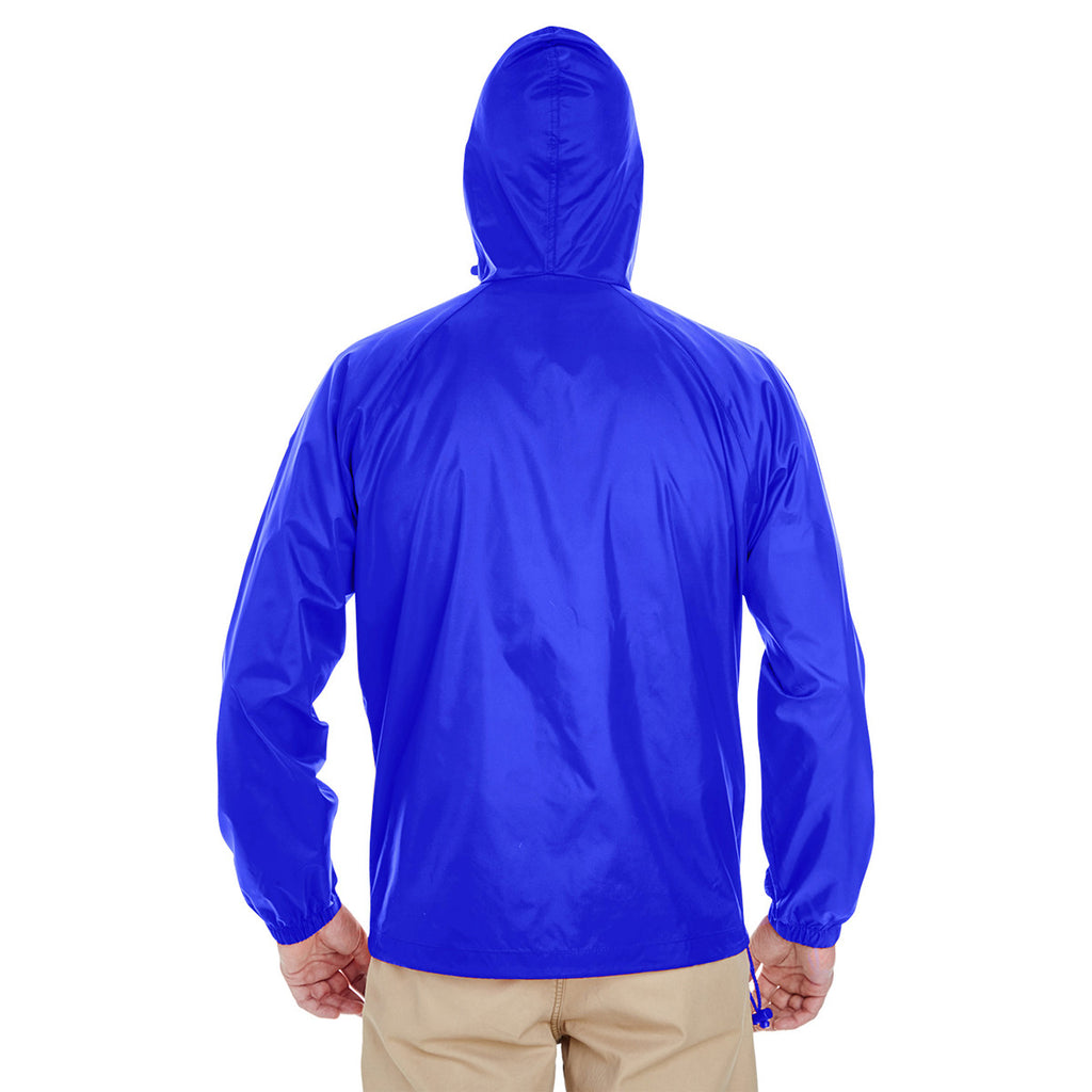 UltraClub Men's Royal Quarter-Zip Hooded Pullover Pack-Away Jacket