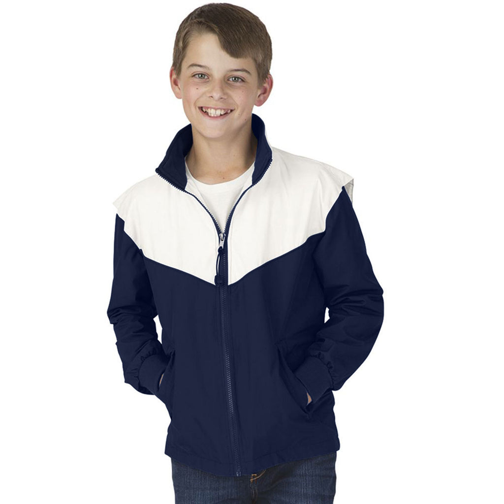 Charles River Youth Navy/White Championship Jacket
