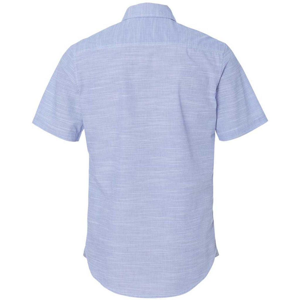 Burnside Men's Blue Textured Solid Short Sleeve Shirt