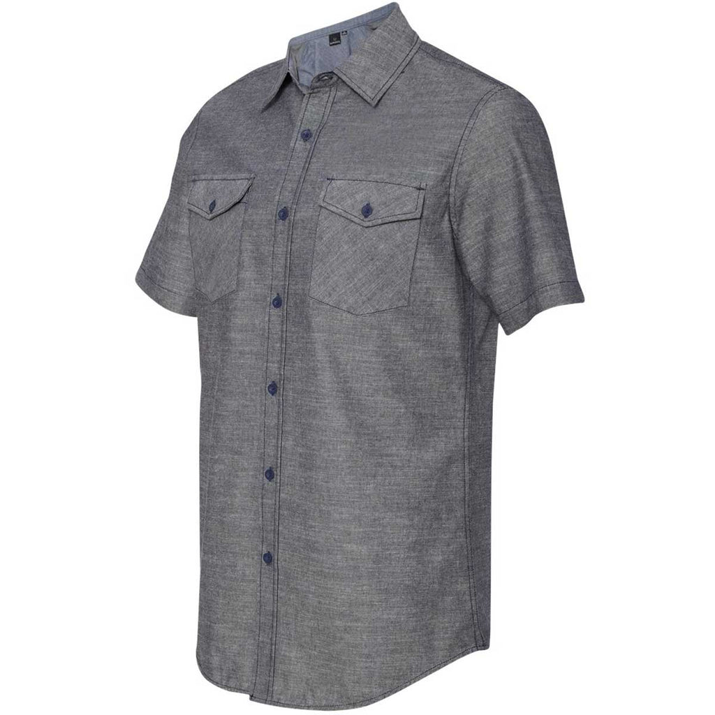 Burnside Men's Dark Denim Chambray Short Sleeve Shirt