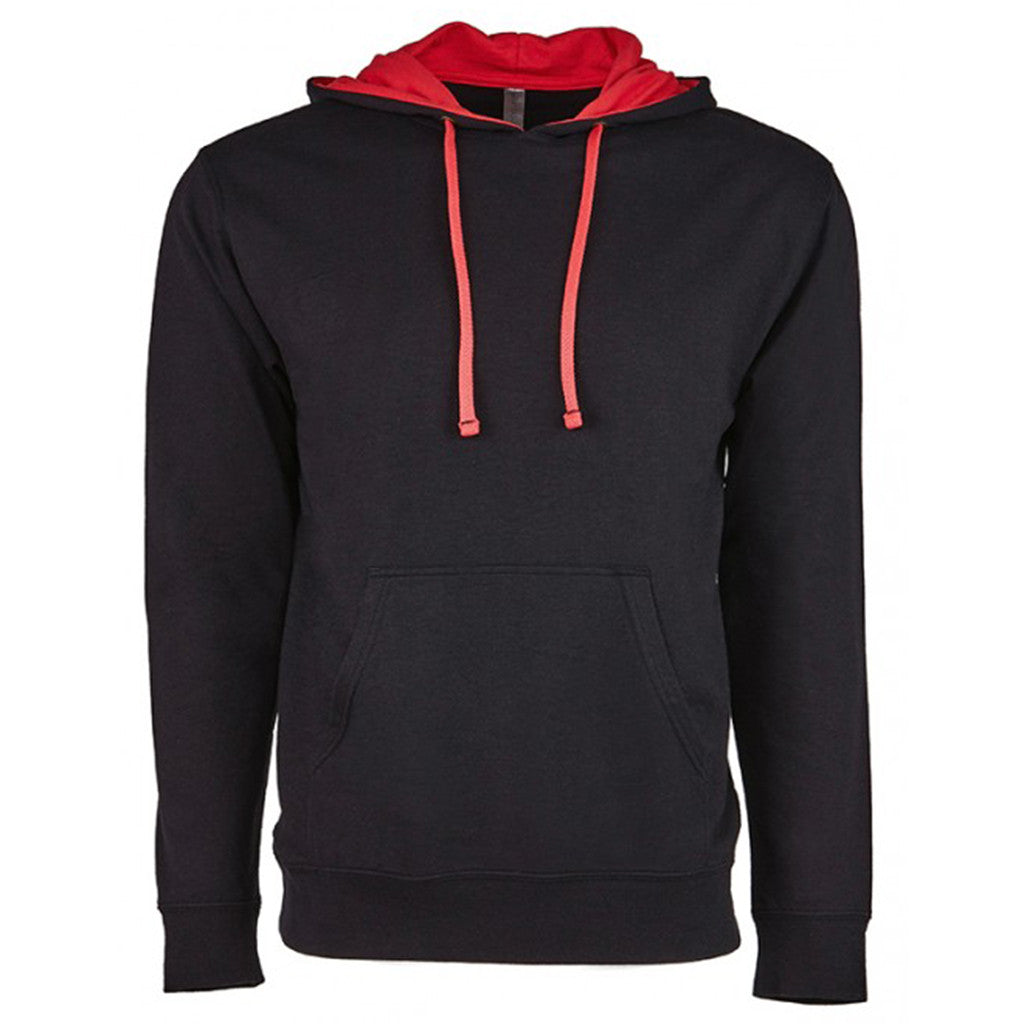 19c6a6e9 Next Level Unisex Black/Red French Terry Pullover Hoodie. ADD YOUR LOGO