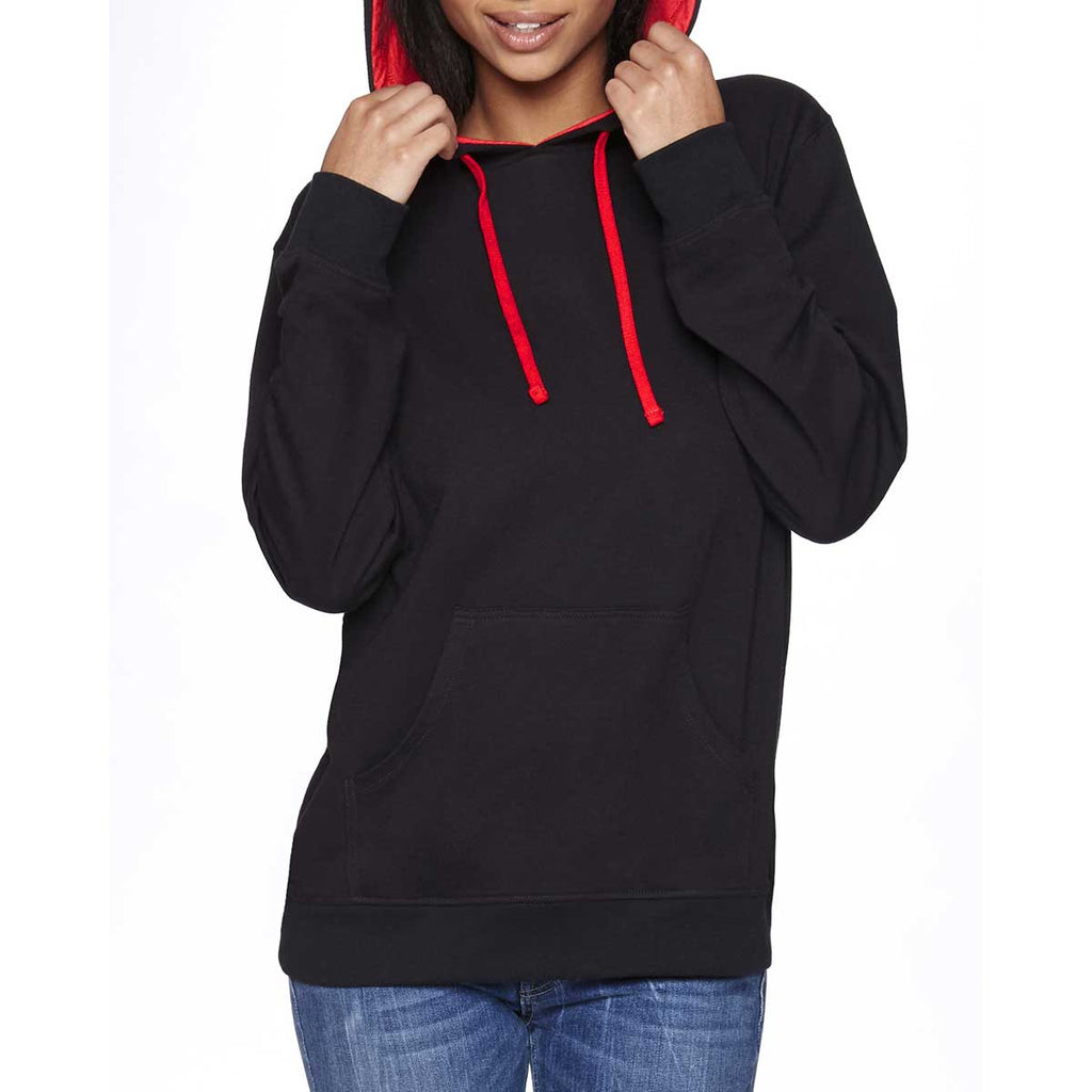 487ce649 Next Level Unisex Black/Red French Terry Pullover Hoodie