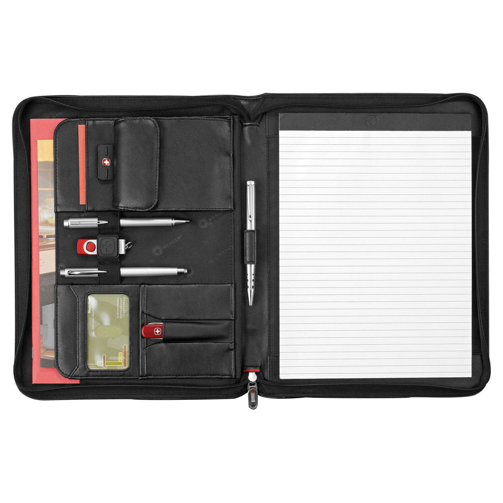 Wenger Black Executive Leather Zippered Padfolio