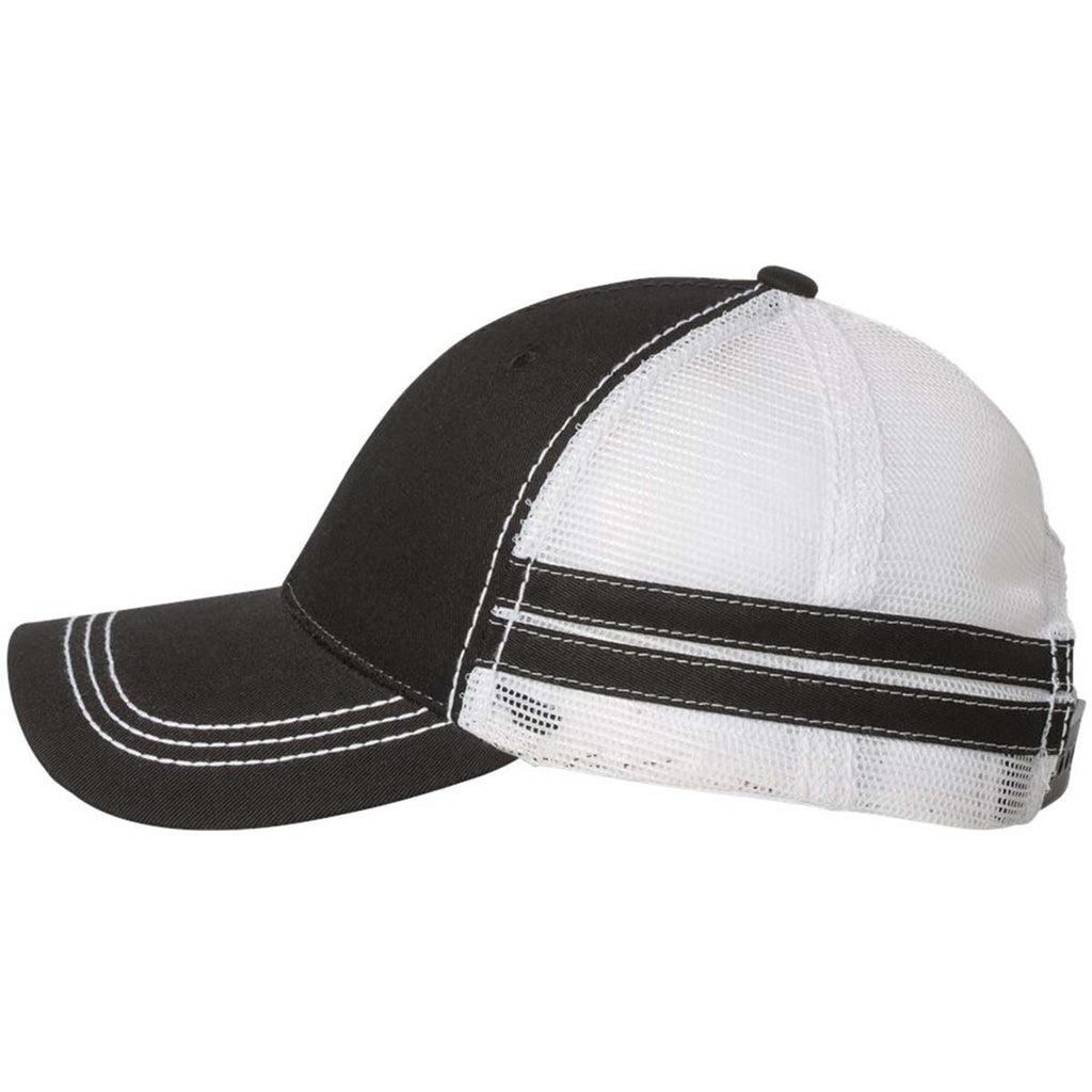 Sportsman Black/White Trucker Cap with Stripes