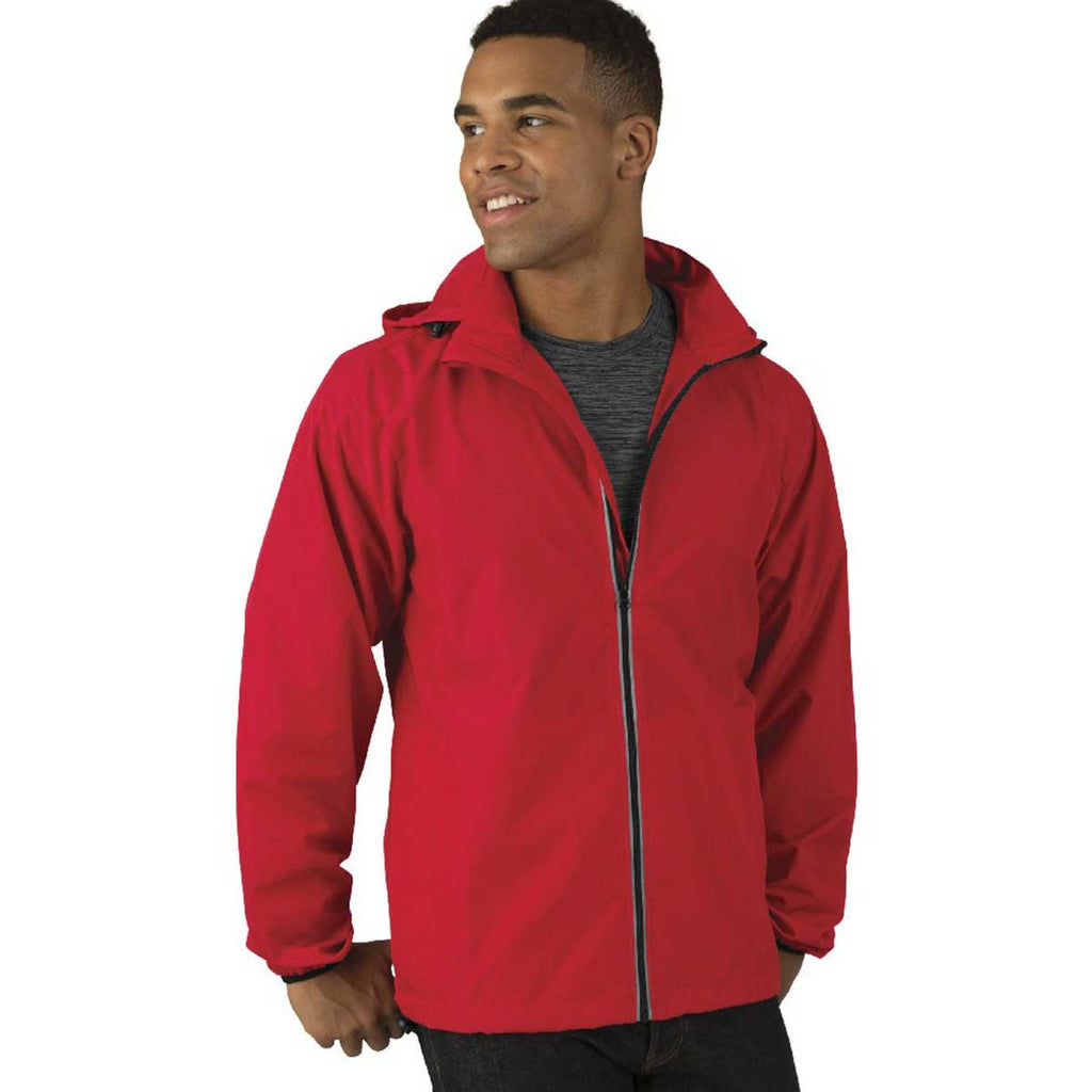 Charles River Men's Red Pack-N-Go Full Zip Reflective Jacket
