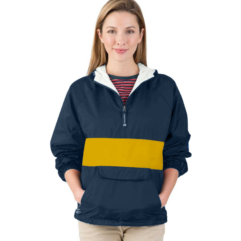 Charles River Unisex Navy/Gold Classic Charles River Striped Pullover