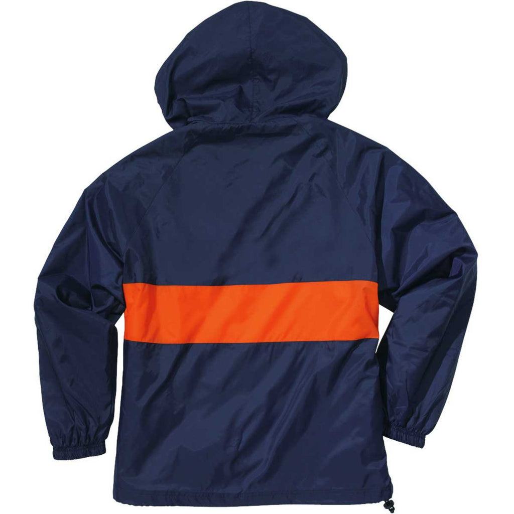 Charles River Unisex Navy/Orange Classic Charles River Striped Pullover