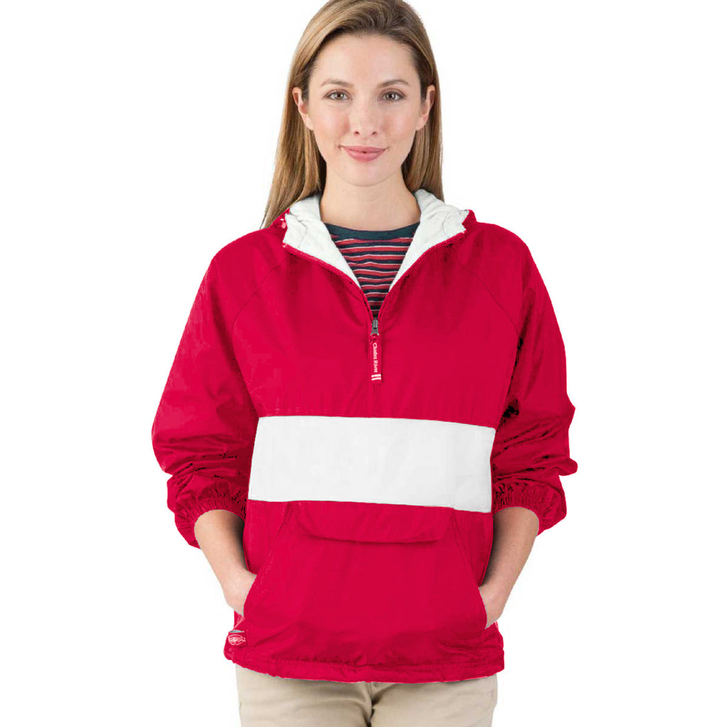 Charles River Unisex Red/White Classic Charles River Striped Pullover