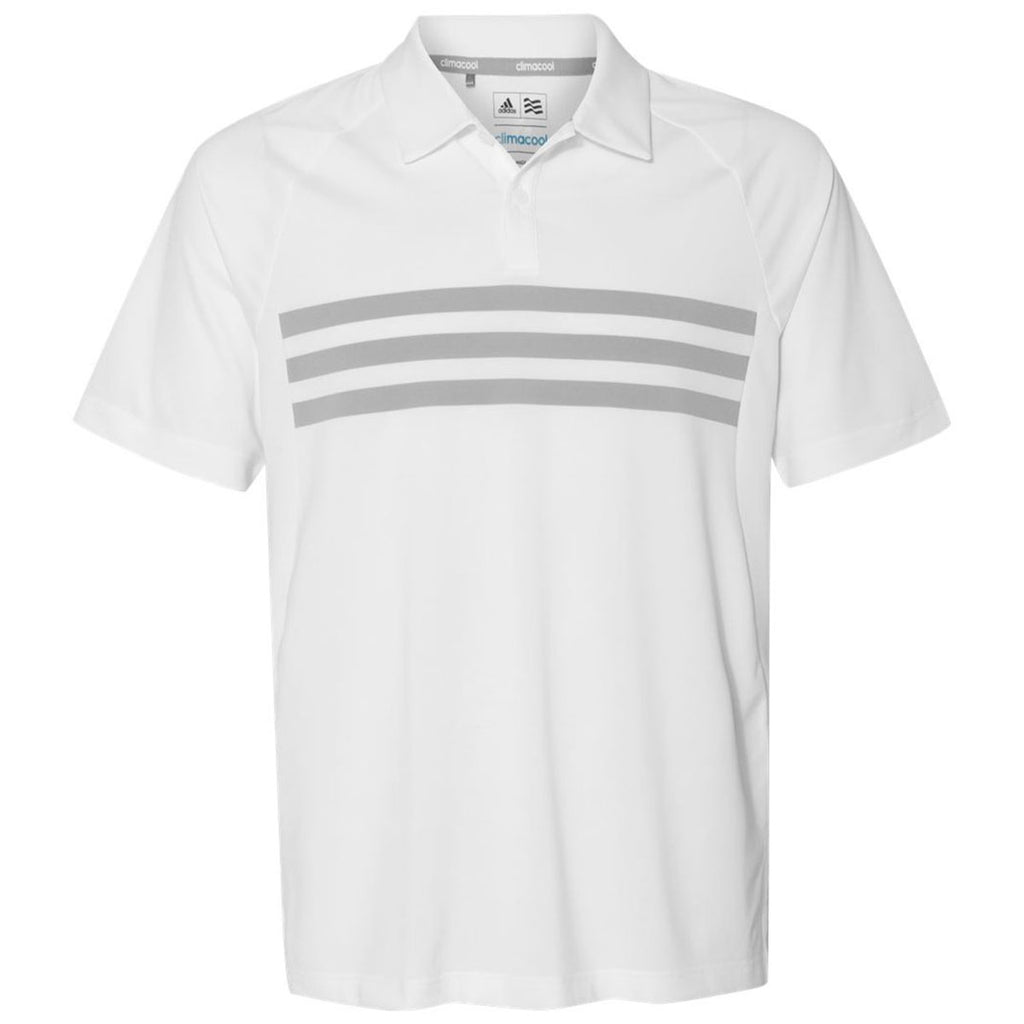 d4becd11 Adidas Golf Men's White/Mid Grey/White Climacool 3-Stripe Sport Shirt. ADD  YOUR LOGO