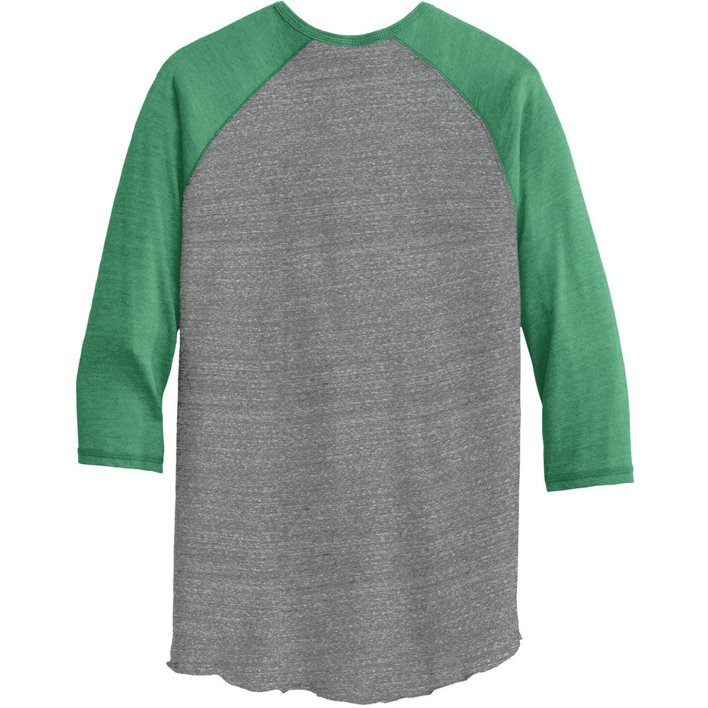 Alternative Men's Grey/True Green Eco-Jersey 3/4-Sleeve Raglan Henley