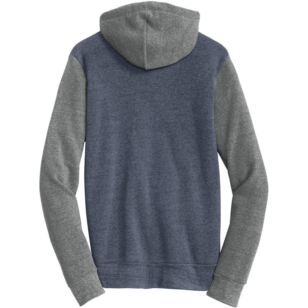 Alternative Men's True Navy/Grey Colorblock Rocky Eco-Fleece Zip Hoodie