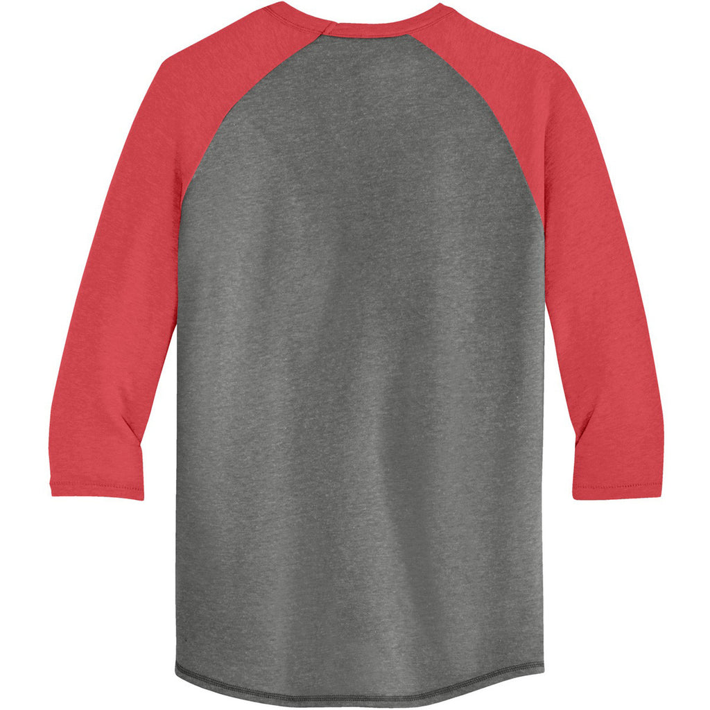 Alternative Men's Vintage Coal/Red Dugout 3/4-Sleeve Vintage 50/50 Tee