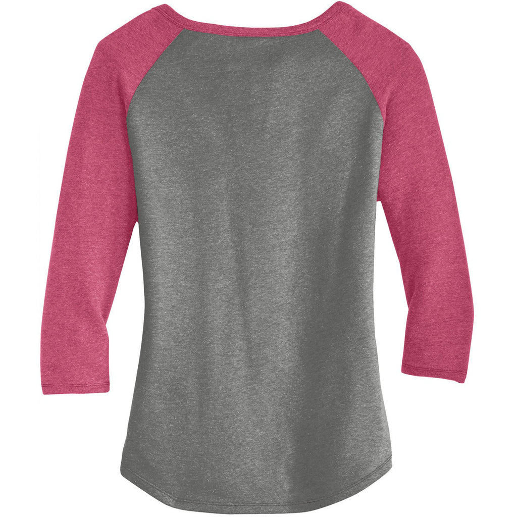 Alternative Apparel Women's Vintage Coal/Vintage Pink Outfield 3/4-Sleeve Vintage 50/50 Tee