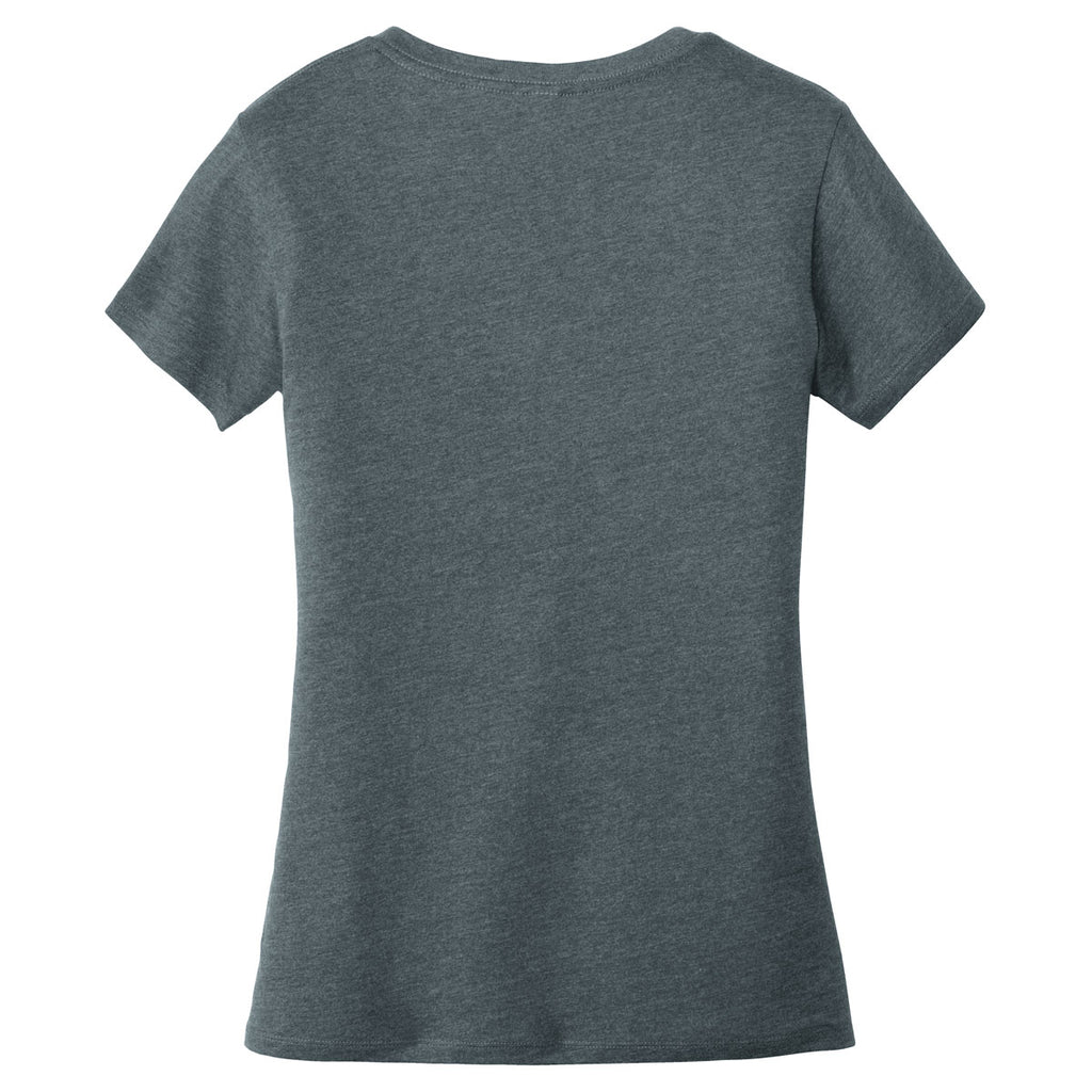 Alternative Apparel Women's Heather Deep Charcoal Runaway Blended Jersey V-Neck Tee