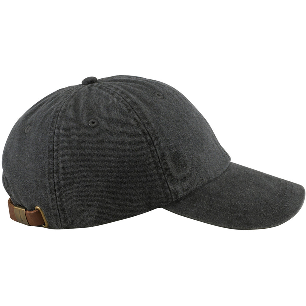 Adams Black 6 Panel Low-Profile Washed Pigment-Dyed Cap