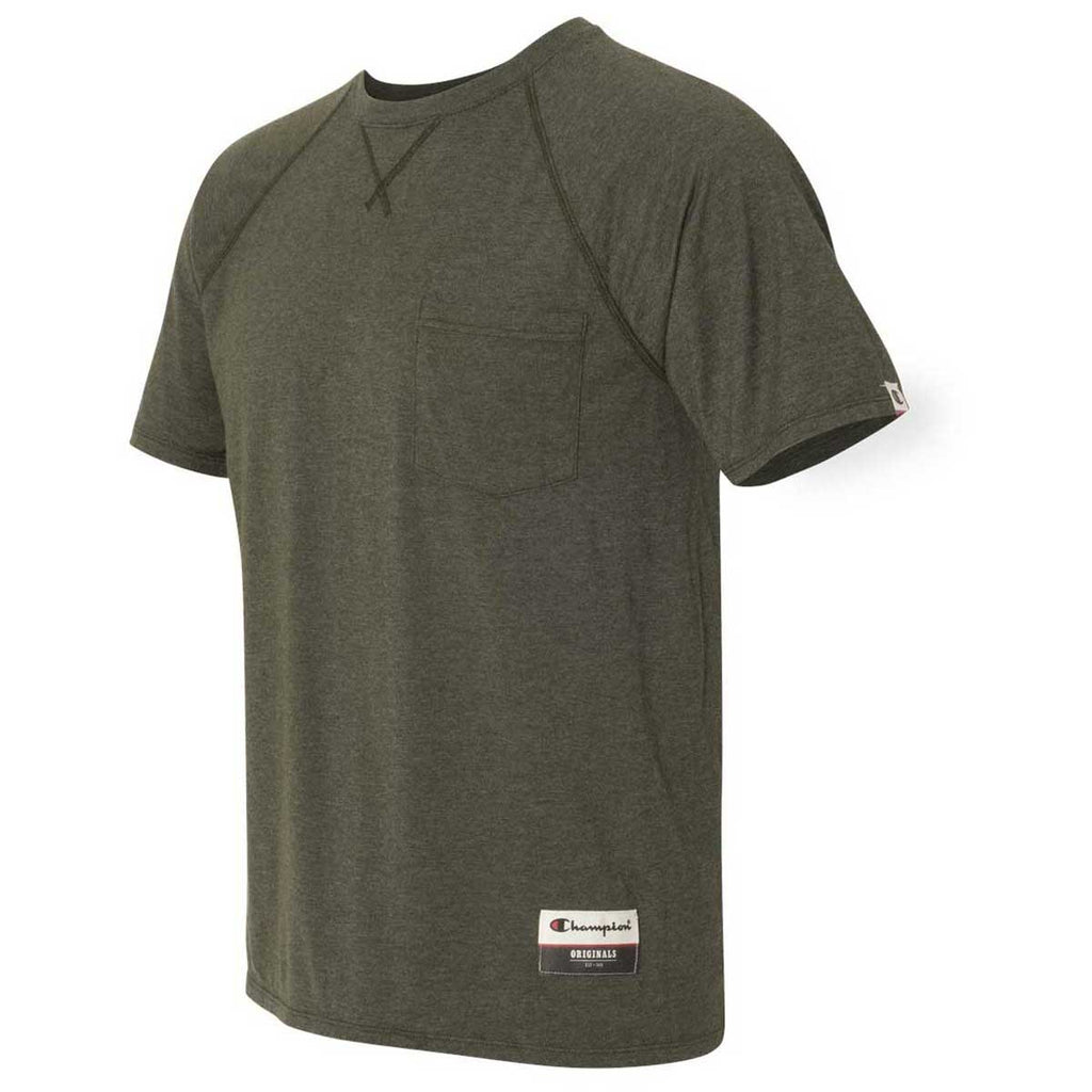 Champion Men's Green Luck Heather Originals Soft-Wash Pocket Tee