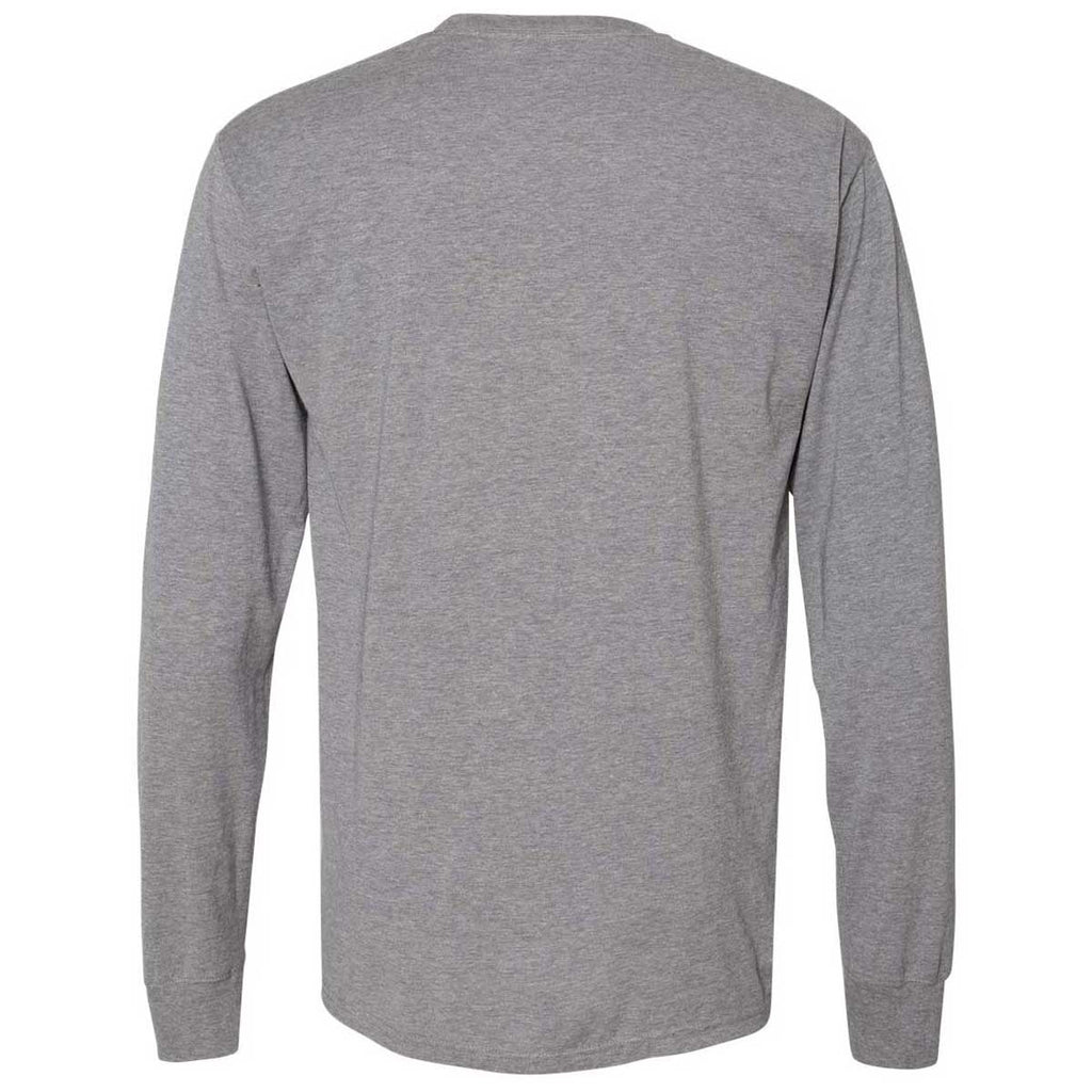 Champion Men's Oxford Grey Originals Soft-Wash Long Sleeve Tee