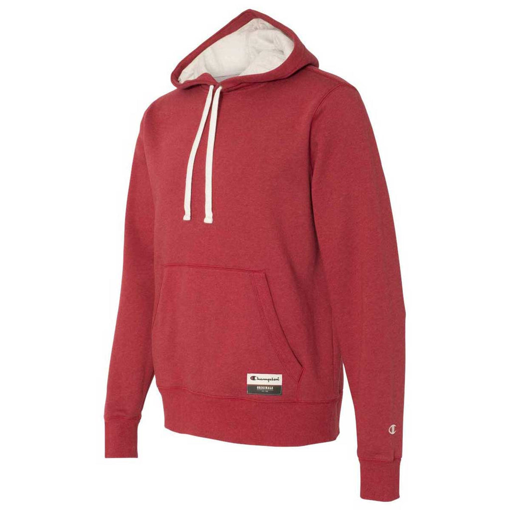 Champion Men's Carmine Red Heather Originals Sueded Fleece Pullover Hoodie