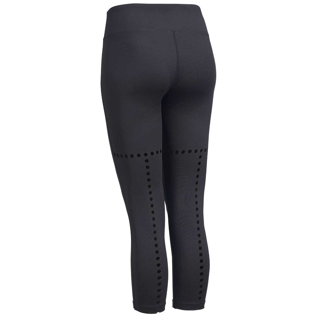Expert Women's Black Faux Seam Laser Cut Capri