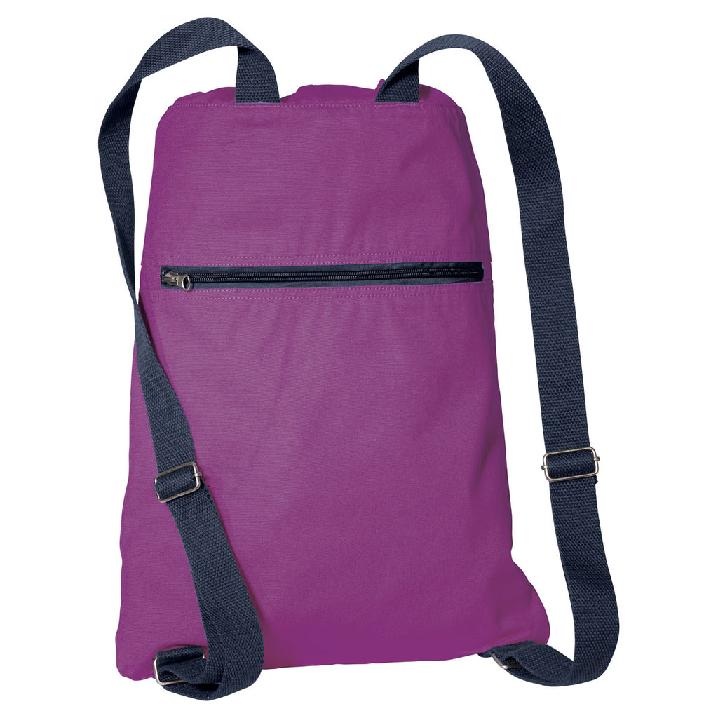 Port Authority Hyacinth/Navy Canvas Cinch Pack