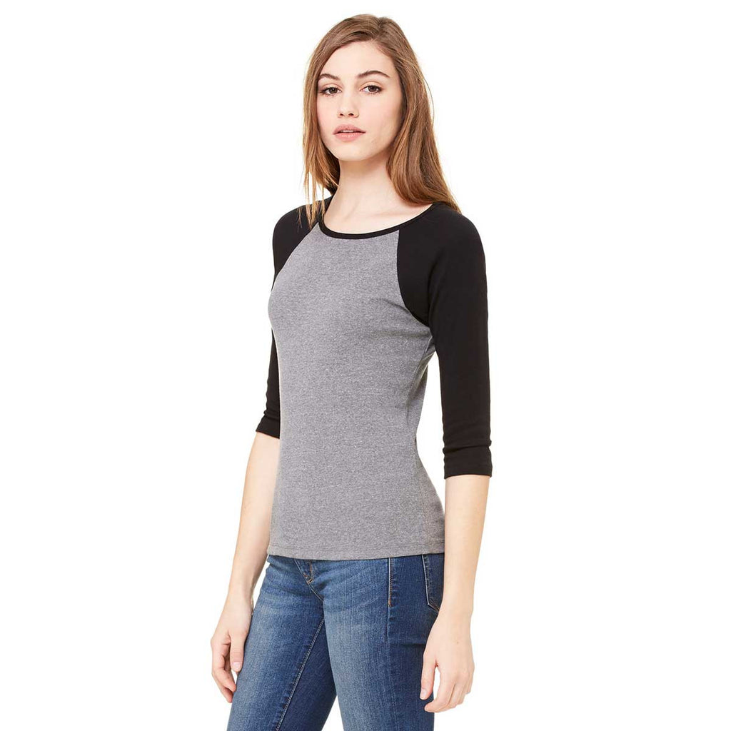 Bella + Canvas Women's Deep Heather/Black Stretch Rib 3/4-Sleeve Contrast Raglan T-Shirt