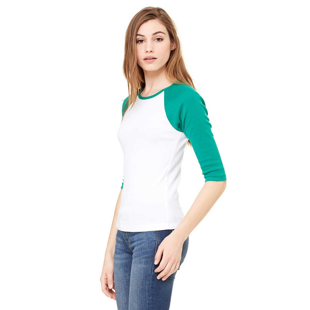 Bella + Canvas Women's White/Kelly Stretch Rib 3/4-Sleeve Contrast Raglan T-Shirt