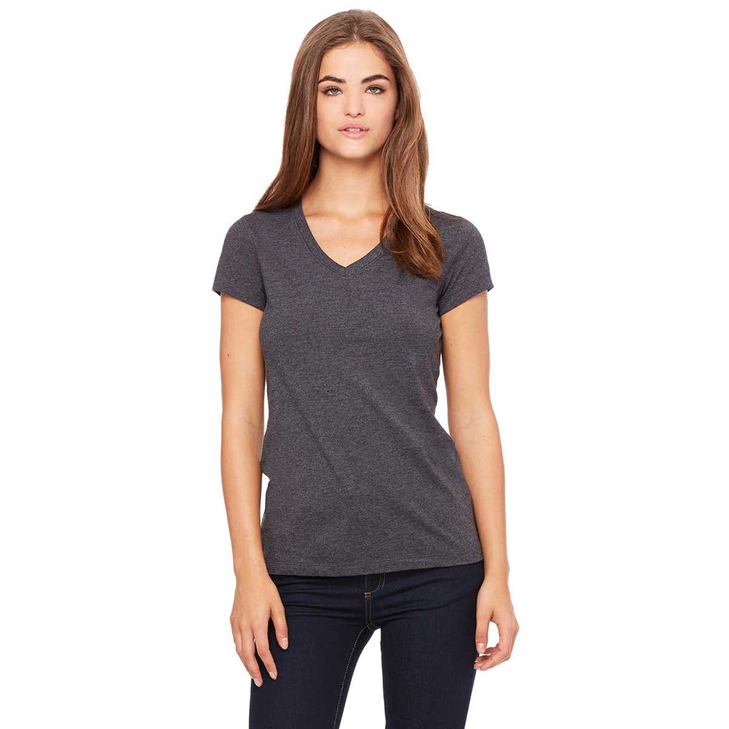 Bella canvas women 39 s dark grey heather jersey short for Womens tall v neck t shirts