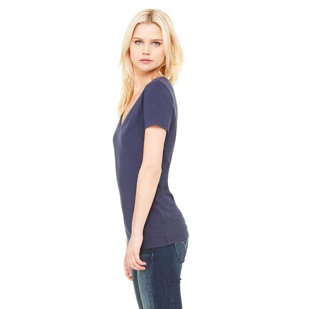 Bella + Canvas Women's Navy Jersey Short-Sleeve Deep V-Neck T-Shirt