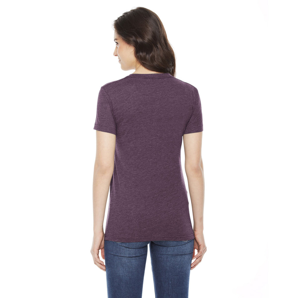 American Apparel Women's Heather Plum Poly-Cotton Short Sleeve Crewneck T-Shirt