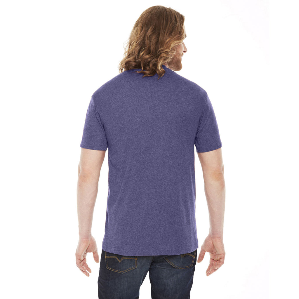American Apparel Unisex Heather Imperial Purple Poly-Cotton Short Sleeve Crewneck T-Shirt