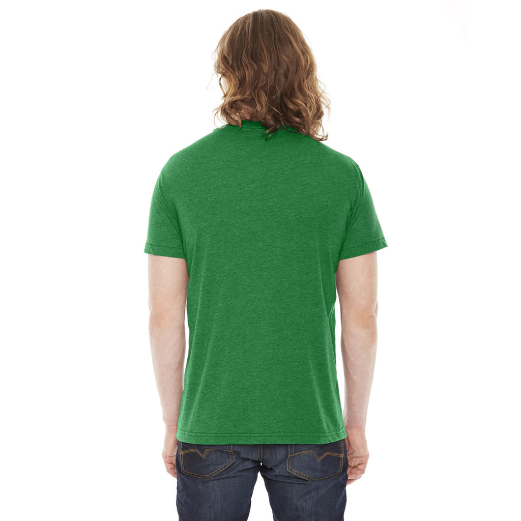American Apparel Unisex Heather Kelly Green Poly-Cotton Short Sleeve Crewneck T-Shirt